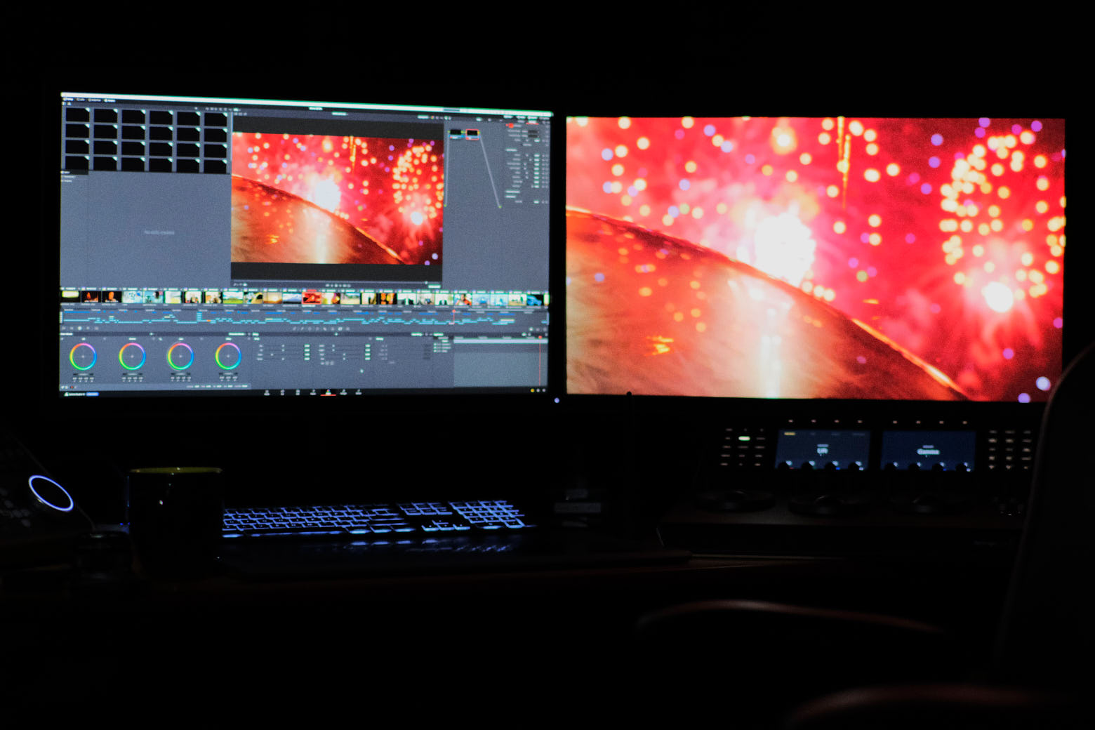 Editing suite NLE color grading