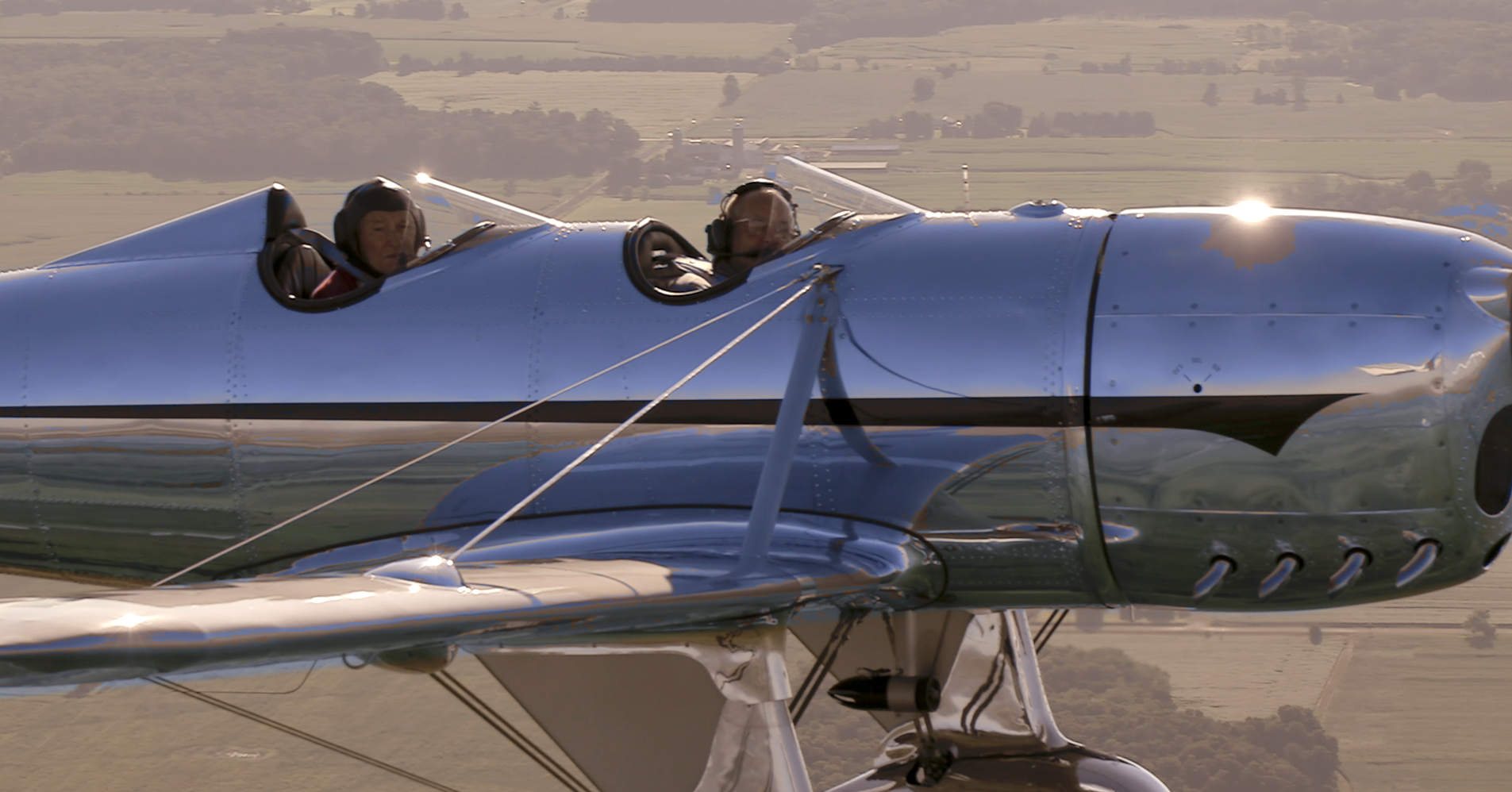 Stearman polished pilot CU